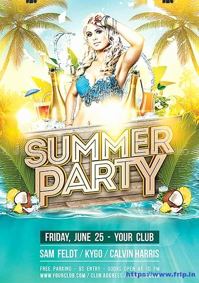 Summer Party Flyer Template Best Of 70 Best Summer Beach Flyer Print Templates 2019