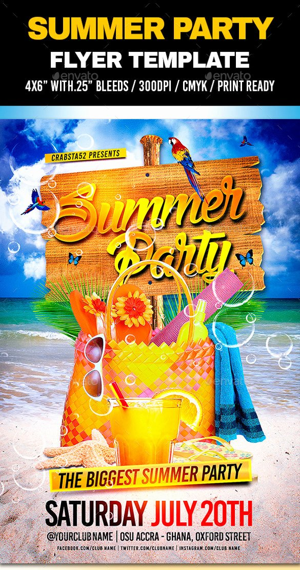 Summer Party Flyer Template Elegant 47 Summer Party Flyer Templates Psd Ai Vector Eps