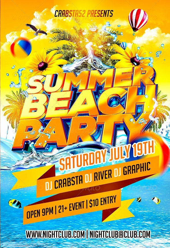 Summer Party Flyer Template Elegant Ffflyer
