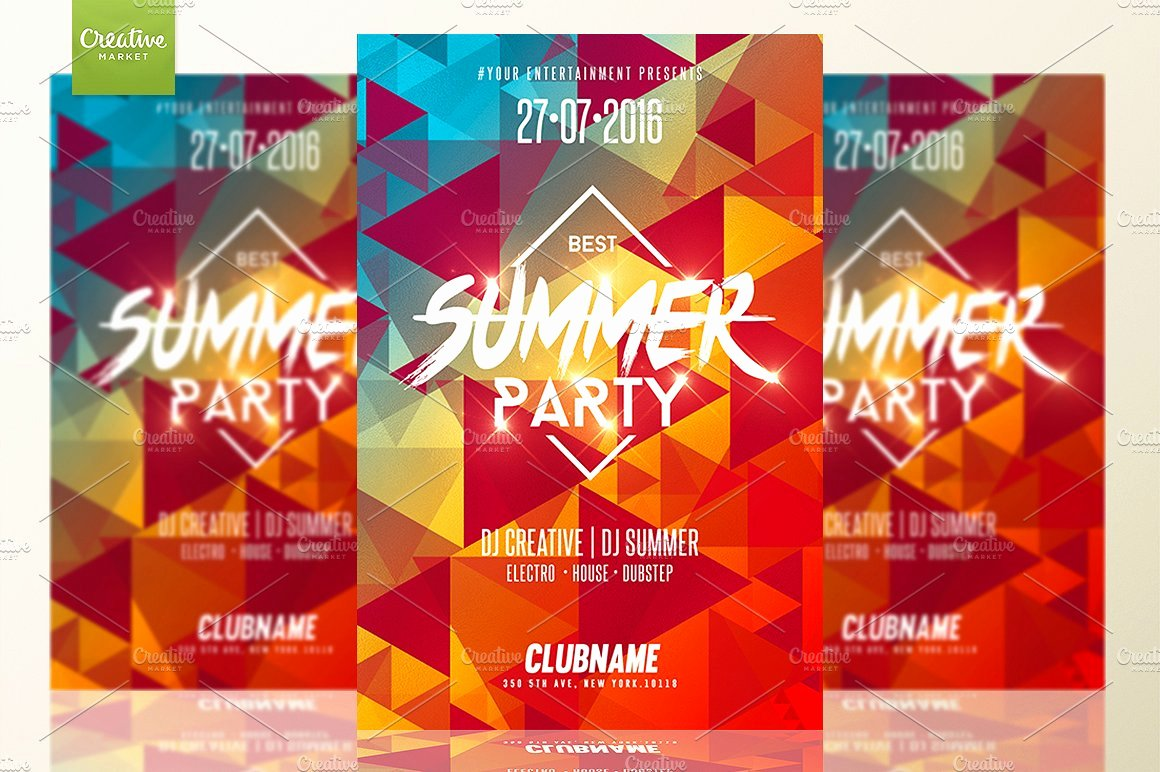 Summer Party Flyer Template Elegant Summer Party
