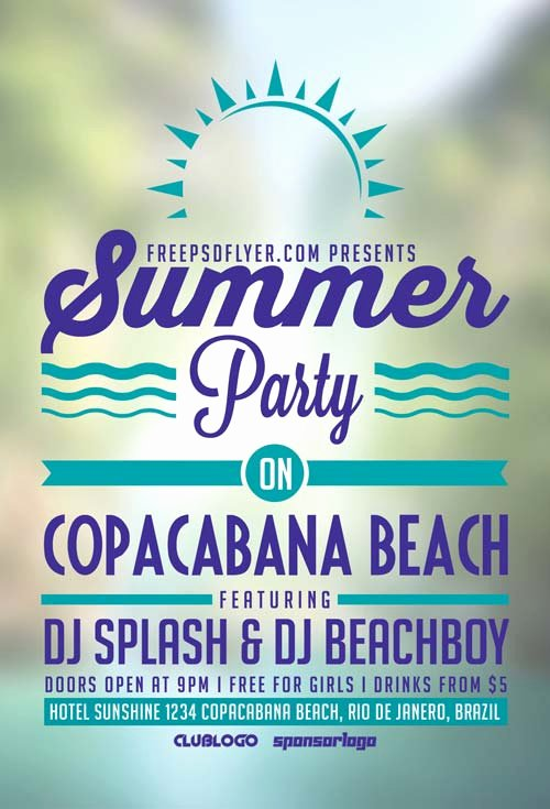 Summer Party Flyer Template Inspirational Freepsdflyer