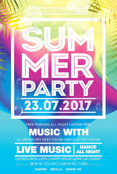 Summer Party Flyer Template Lovely Summer Party Club Flyer Template Download Flyer for