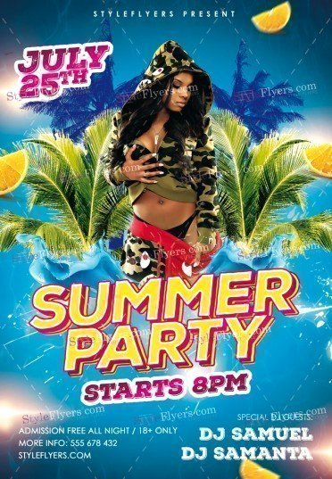Summer Party Flyer Template Lovely Summer Party Psd Flyer Template Styleflyers