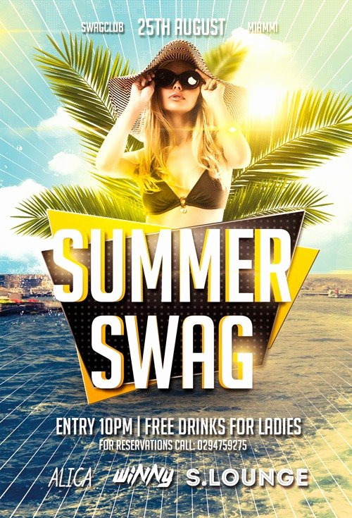 Summer Party Flyer Template Luxury Summer Swag Party Free Flyer Template for Shop Download