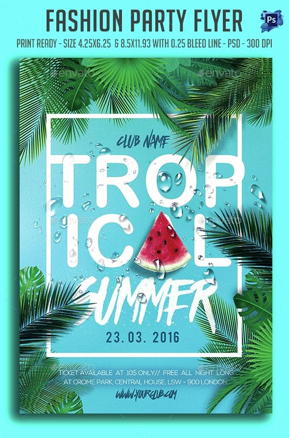 Summer Party Flyer Template Luxury topical Summer Party Flyer