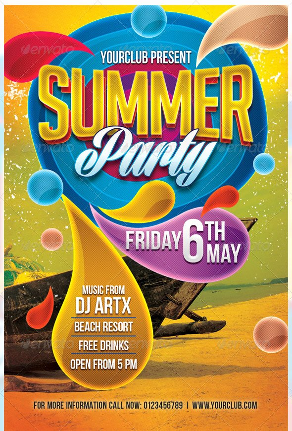 Summer Party Flyer Template New 25 Really Awesome Typography Flyer Psd Templates