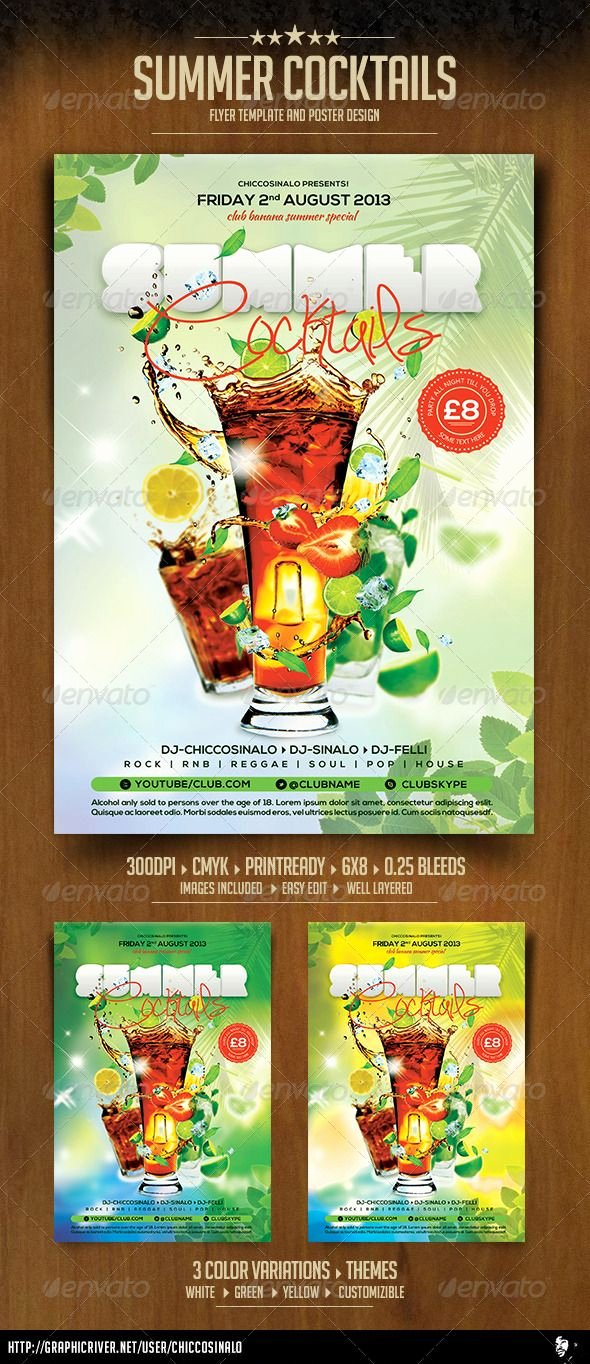 Summer Party Flyer Template New Summer Cocktails Flyer Template