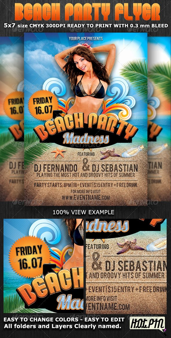 Summer Party Flyer Template Unique Summer Beach Party Flyer Template by Hotpin