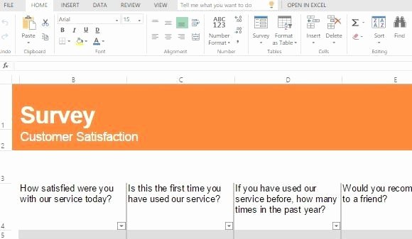 Survey Results Excel Template New Customer Satisfaction Survey Template for Excel