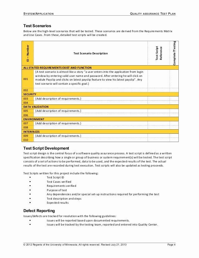 System Test Plan Template Elegant 06 Template Test Plan