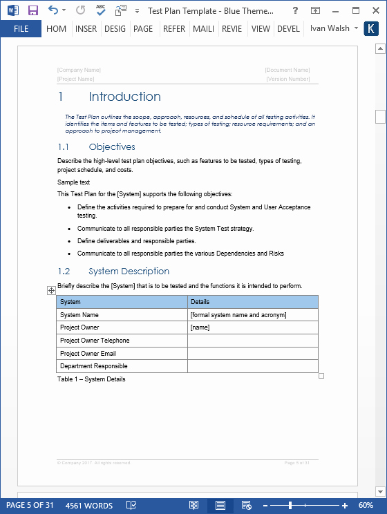 System Test Plan Template Fresh Test Plan – Download Ms Word & Excel Template