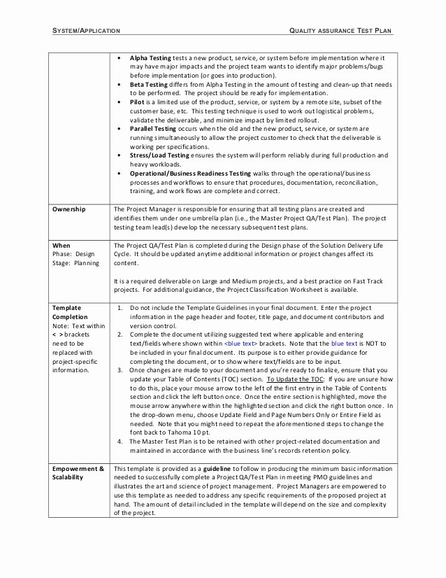 System Test Plan Template Lovely 06 Template Test Plan