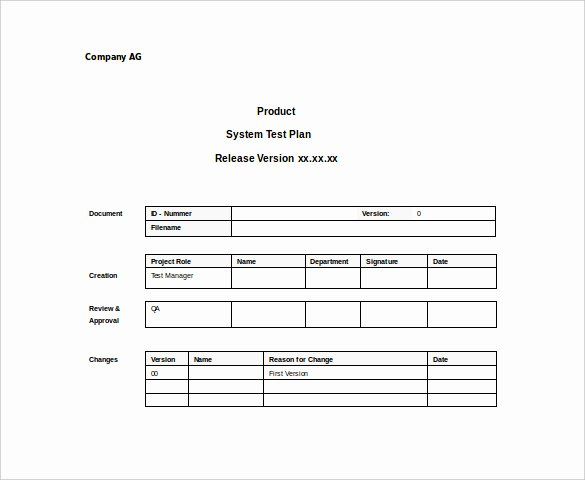 System Test Plan Template Lovely 15 Test Plan Templates Pdf Doc