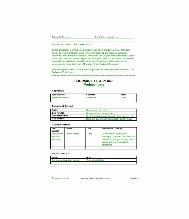 System Test Plan Template New 13 Simple Test Plan Templates Pdf Word