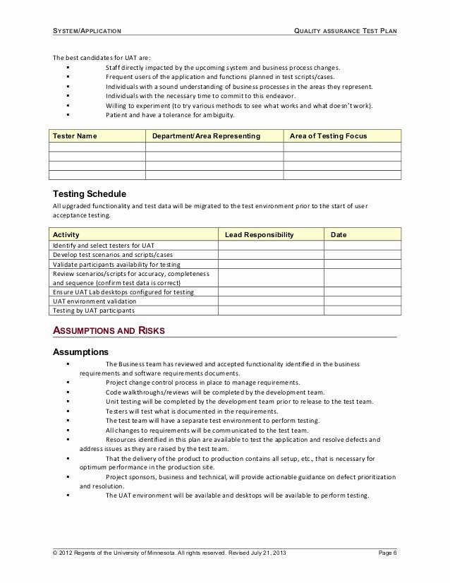 System Test Plan Template Unique 06 Template Test Plan