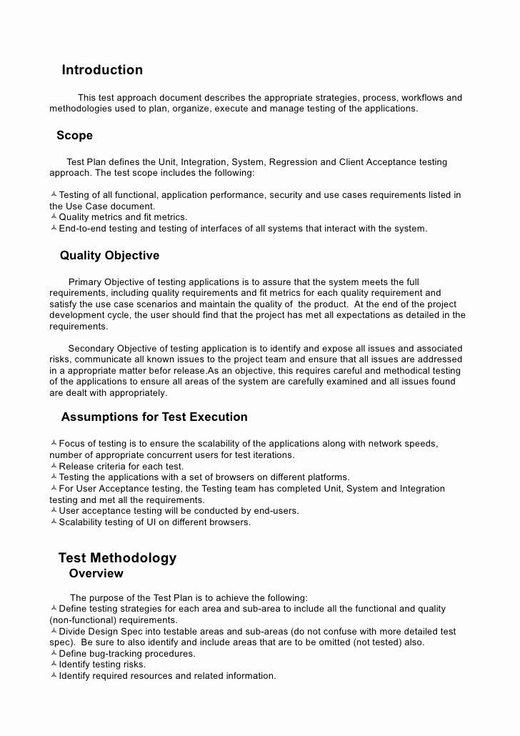 System Test Plan Template Unique Test Plan