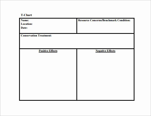 T Chart Template Word Fresh 12 T Chart Templates Free Sample Example format