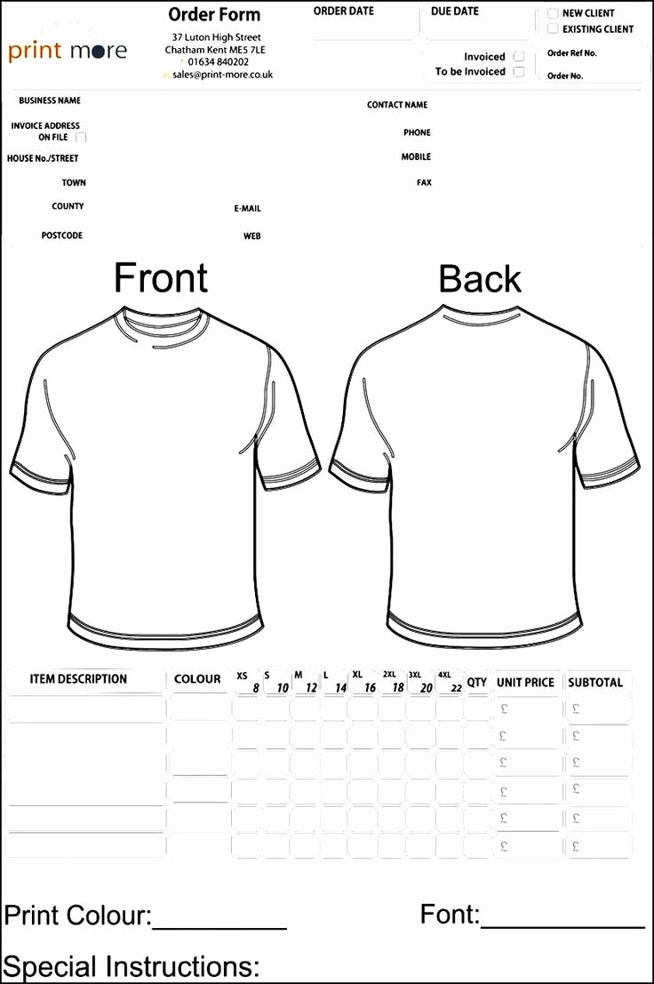 T Shirt Invoice Template Inspirational 48 Best Sample order Templates Images On Pinterest