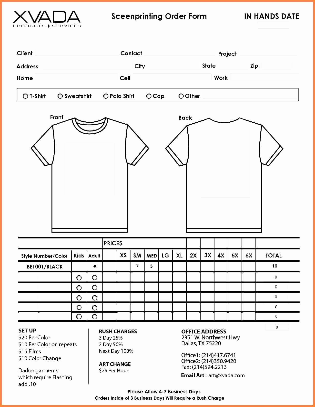 T Shirt Invoice Template New Shirt order form Template Beepmunk