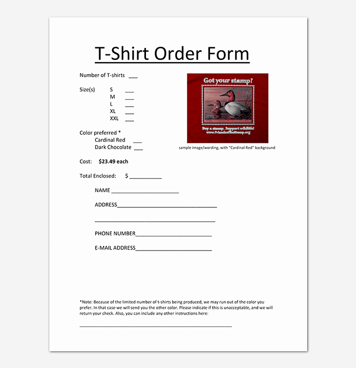 T Shirt order Template Lovely T Shirt order form Template 17 Word Excel Pdf