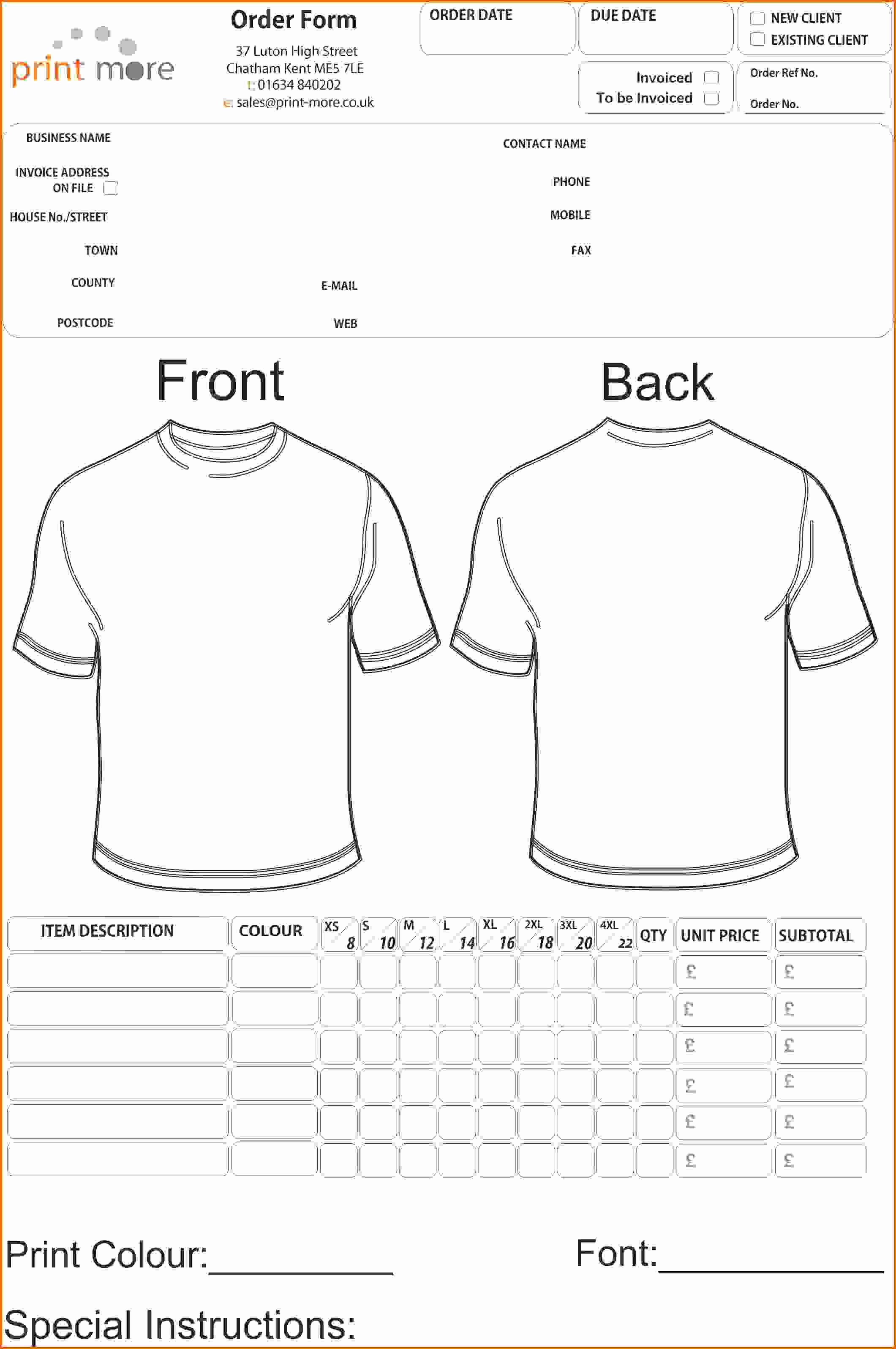 T Shirt order Template Luxury 4 T Shirt order form Template Freereference Letters Words