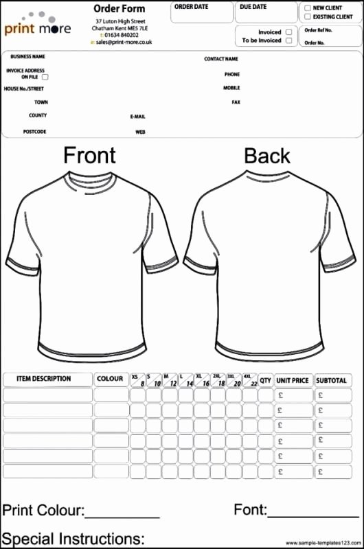 T Shirt order Template Luxury Apparel order form Template Template