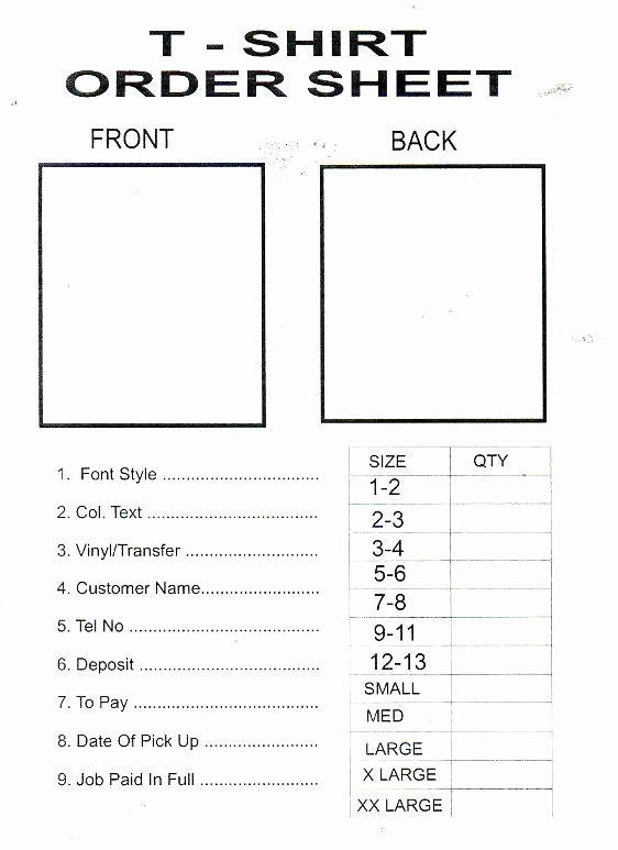 T Shirt order Template New Sample School T Shirt order form – Royaleducationfo
