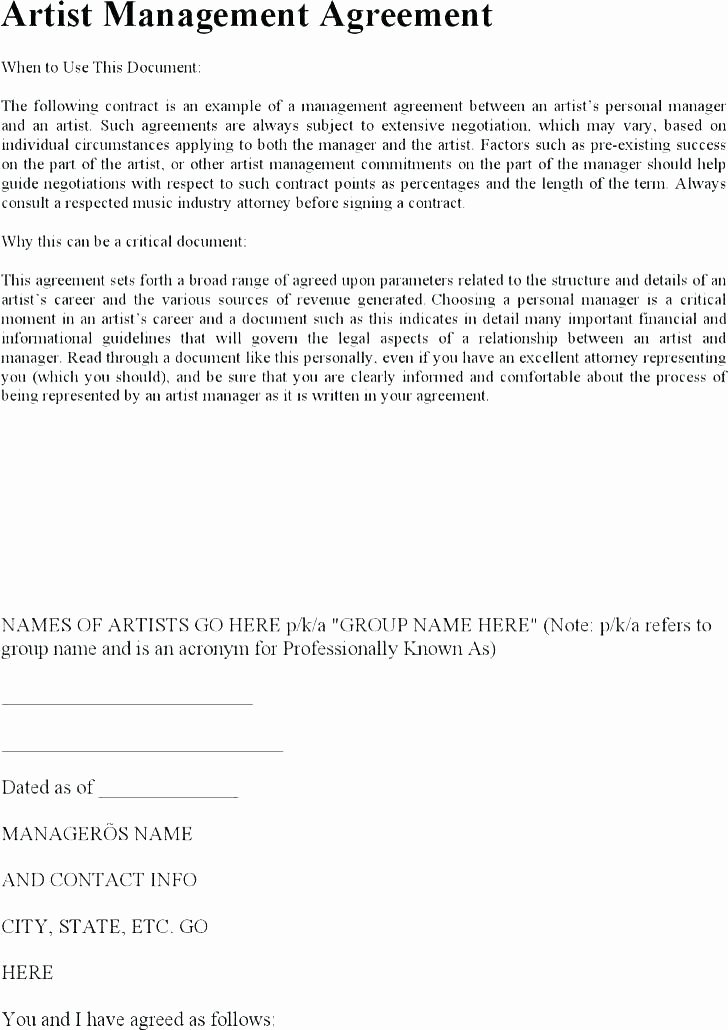 Talent Management Contract Template Inspirational Artist Management Contract Template Agreement Next Project