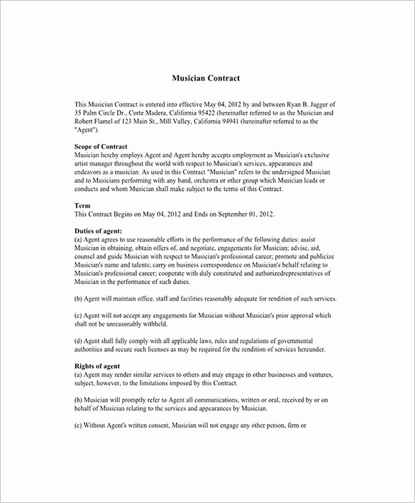 Talent Management Contract Template Luxury Ideas for Booking Agent Contract Template with Additional