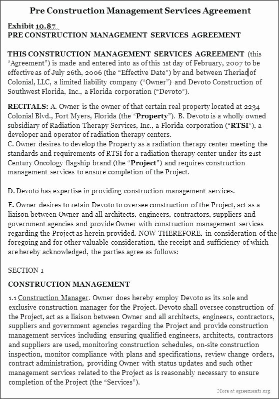 Talent Management Contract Template New Template Construction Project Management Contracts