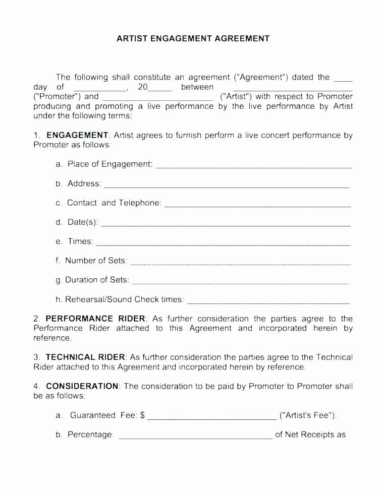 Talent Management Contract Template Unique 95 Music Manager Contract Template Sample Freelance