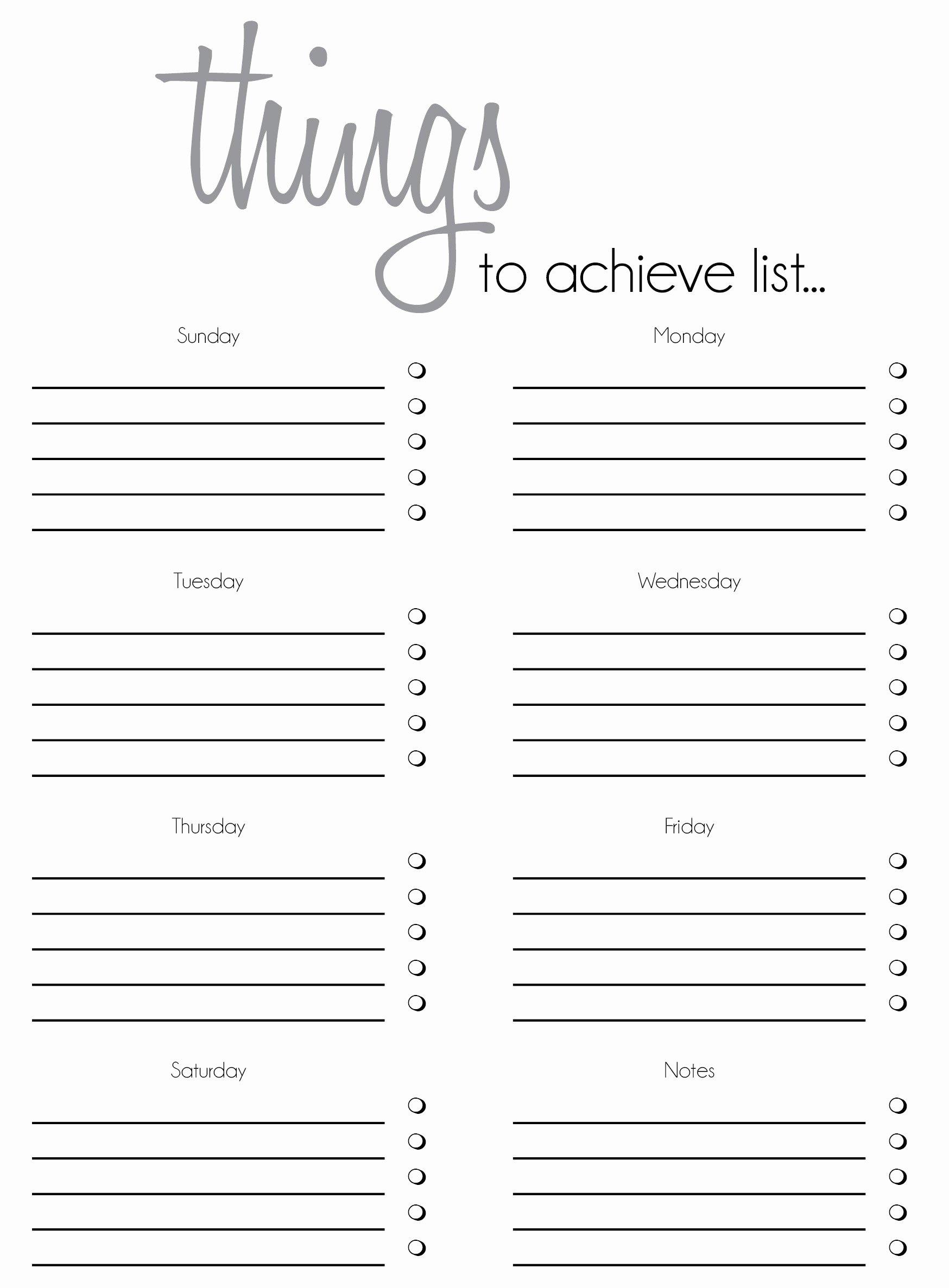 Task List Template Word Inspirational Free Printable to Do List Templates