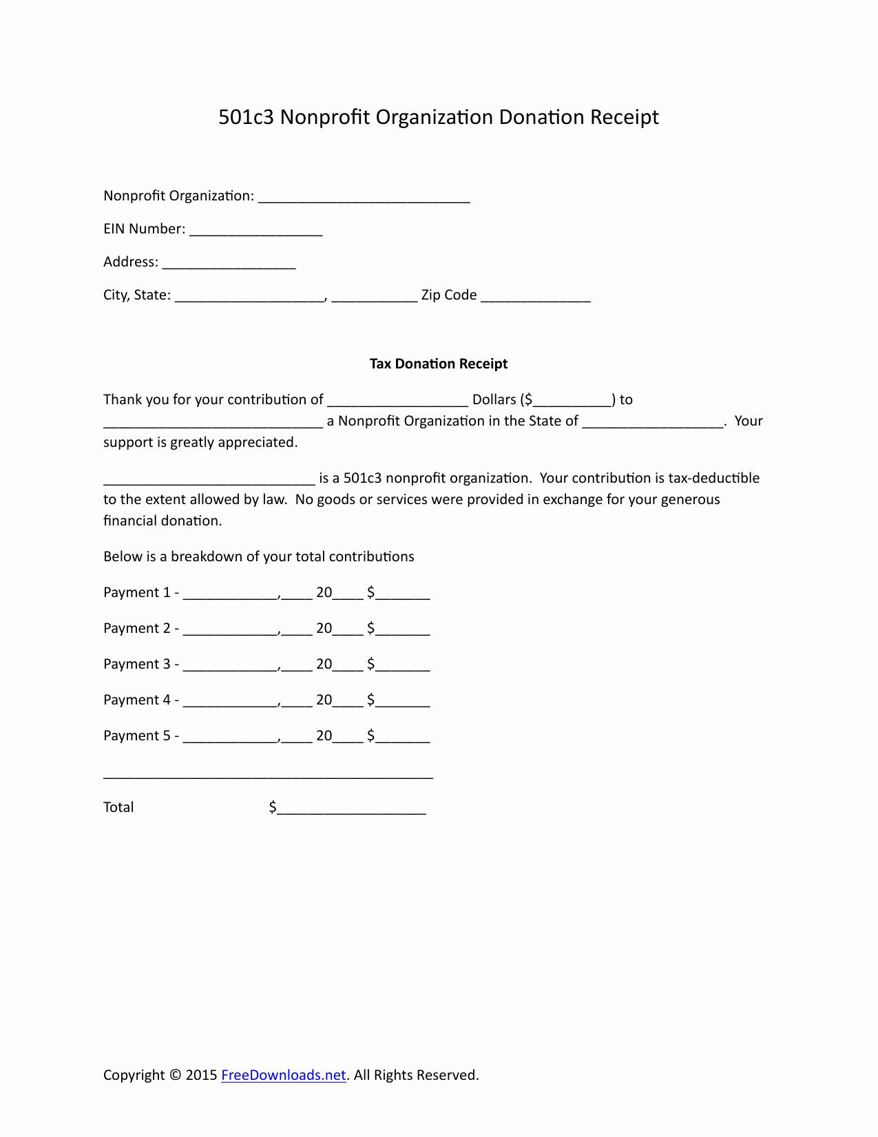 Tax Deductible Donation Receipt Template Unique Download 501c3 Donation Receipt Letter for Tax Purposes