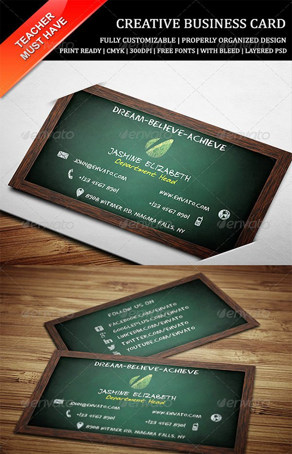 Teacher Business Card Template Awesome Business Cards for Teachers 51 Free Psd format Download