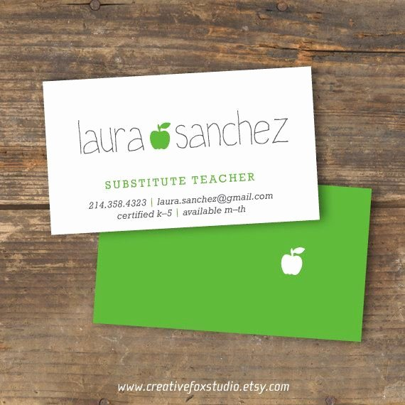 Teacher Business Card Template Awesome Substitute Teacher Business Card Template