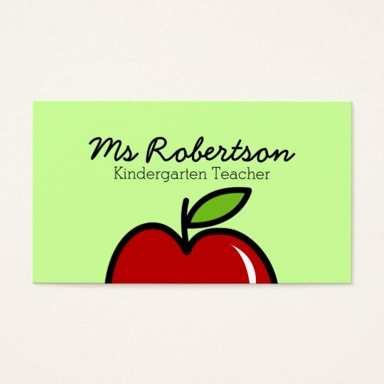 Teacher Business Card Template Awesome Teacher Business Card Template with Red Apple
