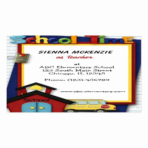 Teacher Business Card Template Awesome Teacher Elementary School Double Sided Standard Business