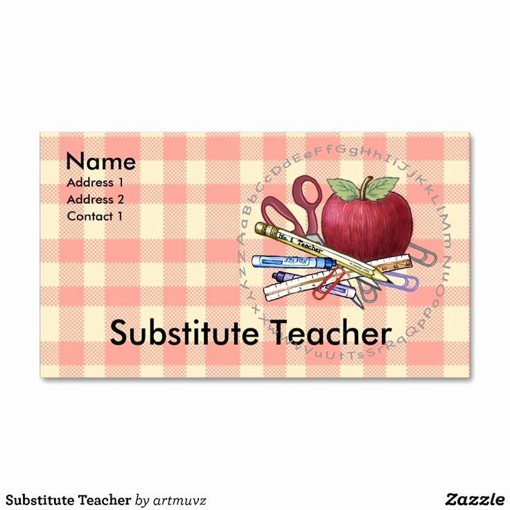 Teacher Business Card Template Beautiful Substitute Teacher