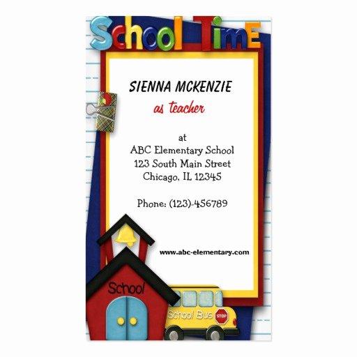 Teacher Business Card Template Beautiful Teacher Elementary School Double Sided Standard Business