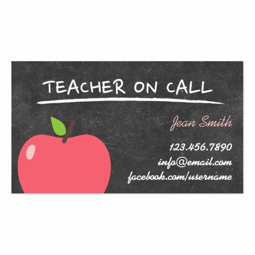 Teacher Business Card Template Best Of Teacher On Call Cute Apple Chalkboard Business Card