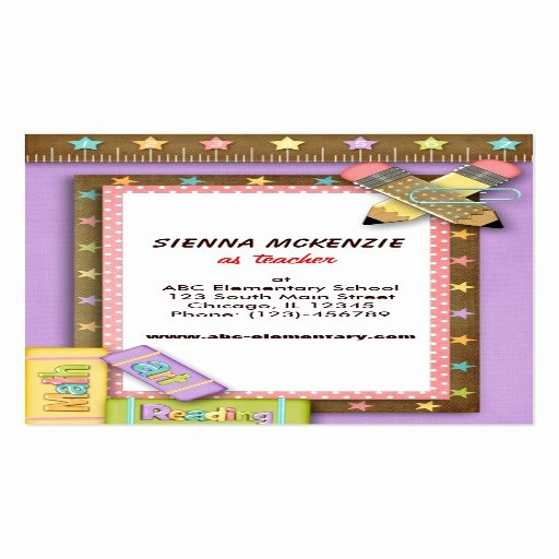 Teacher Business Card Template Elegant Teacher Double Sided Standard Business Cards Pack 100