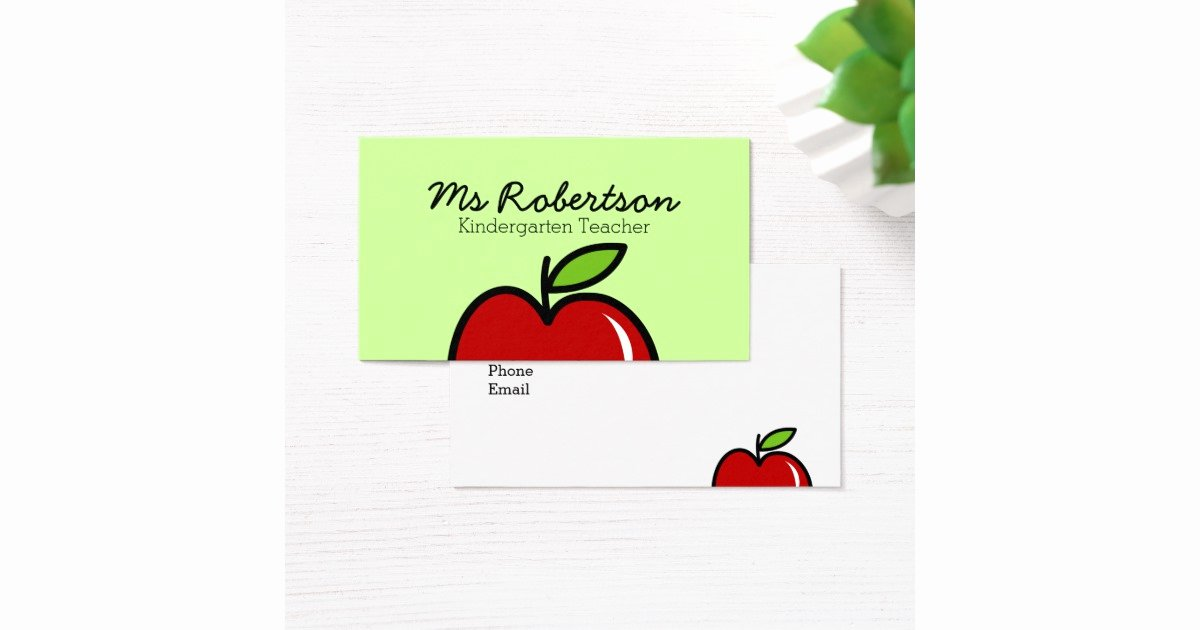 Teacher Business Card Template Fresh Teacher Business Card Template with Red Apple