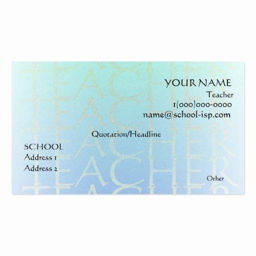 Teacher Business Card Template Fresh Teacher Business Card Templates Page15