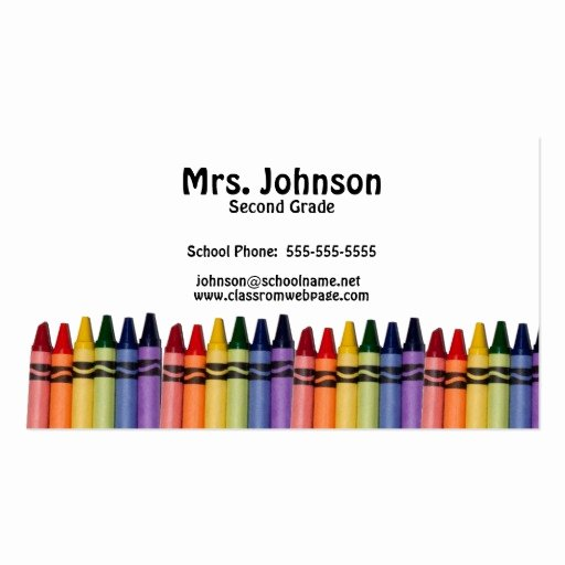 Teacher Business Card Template Fresh Teacher Crayons Template Double Sided Standard Business
