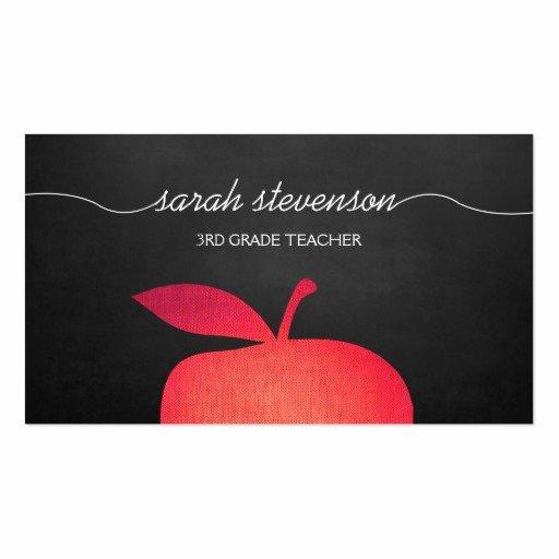 Teacher Business Card Template Lovely Big Red Apple Chalkboard School Teacher Business Card