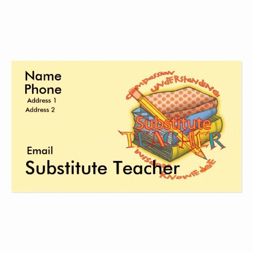 Teacher Business Card Template Lovely Substitute Teacher Motto Business Card Templates