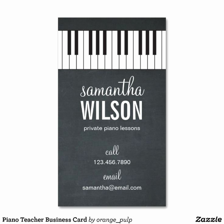 Teacher Business Card Template Luxury Piano Teacher Business Card
