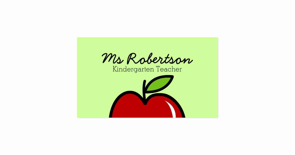 Teacher Business Card Template Luxury Teacher Business Card Template with Red Apple