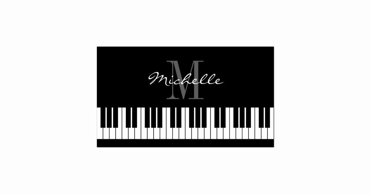 Teacher Business Card Template New Monogrammed Piano Teacher Business Card Template