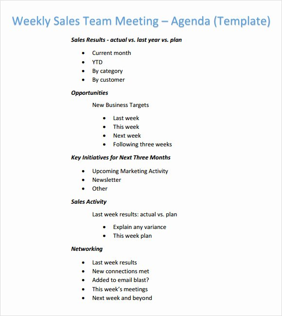 Team Meeting Agenda Template Awesome Weekly Agenda Template 6 Free Download for Pdf Word